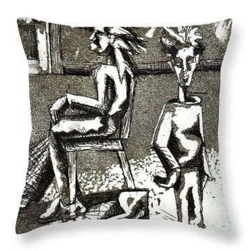 Cat Under Chair Throw Pillow by Genevieve Esson