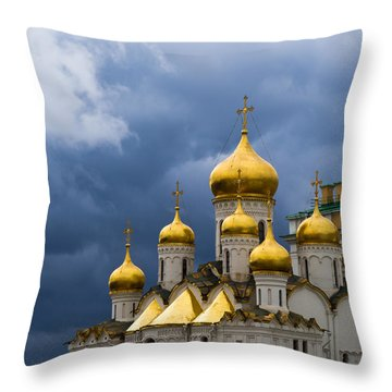 Cathedral Of The Annunciation Of Moscow Kremlin - Square Throw Pillow by Alexander Senin
