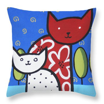 Cats 1 Throw Pillow by Trudie Canwood