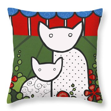 Cats 5 Throw Pillow by Trudie Canwood