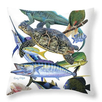 Cayman Collage Throw Pillow by Carey Chen