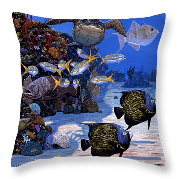 Cayman Reef Re0024 Throw Pillow by Carey Chen