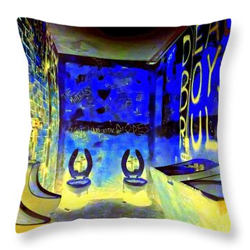 Cbgb's Notorious Mens Room Throw Pillow by Ed Weidman
