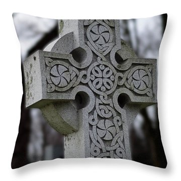 Celtic Cross 10194 Throw Pillow by Guy Whiteley