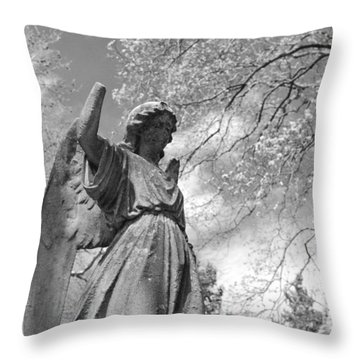Cemetery Angel Throw Pillow by Jennifer Ancker
