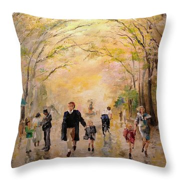 Central Park Early Spring Throw Pillow by Alan Lakin