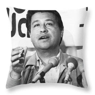 Cesar Chavez Announces Boycott Throw Pillow by Underwood Archives