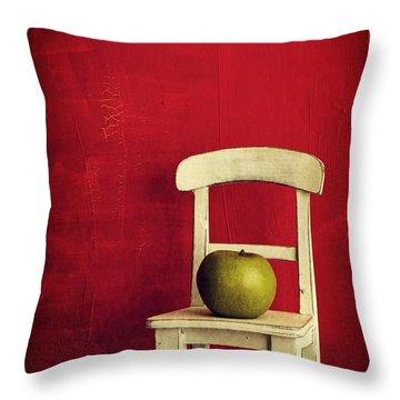 Chair Apple Red Still Life Throw Pillow by Edward Fielding