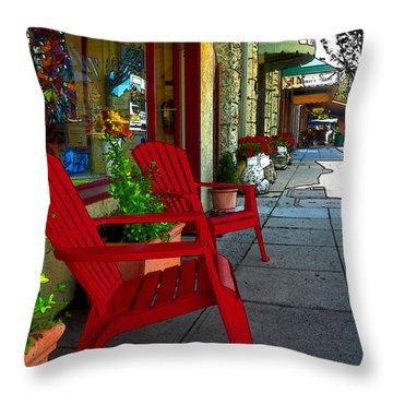 Chairs On A Sidewalk Throw Pillow by James Eddy