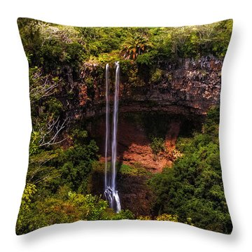 Chamarel Waterfall 1. Mauritius Throw Pillow by Jenny Rainbow