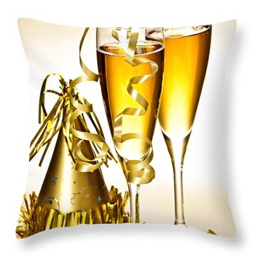 Champagne And New Years Party Decorations Throw Pillow by Elena Elisseeva
