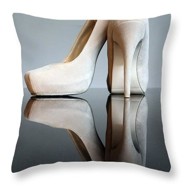 Champagne Stiletto Shoes Throw Pillow by Terri Waters
