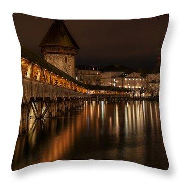 Chapel Bridge Lucerne Throw Pillow by Caroline Pirskanen