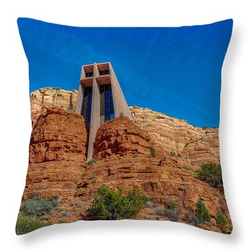 Chapel Of The Holy Cross Sedona Az Front Throw Pillow by Scott Campbell