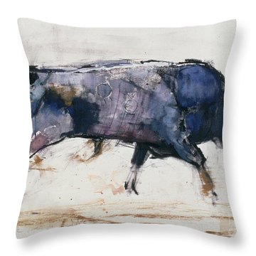 Charging Bull Throw Pillow by Mark Adlington
