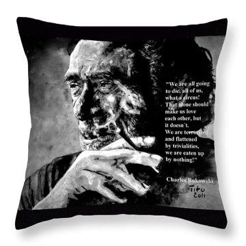 Charles Bukowski Throw Pillow by Richard Tito