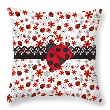 Charming Ladybugs Throw Pillow by Debra  Miller