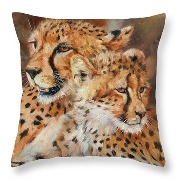 Cheetah And Cub Throw Pillow by David Stribbling