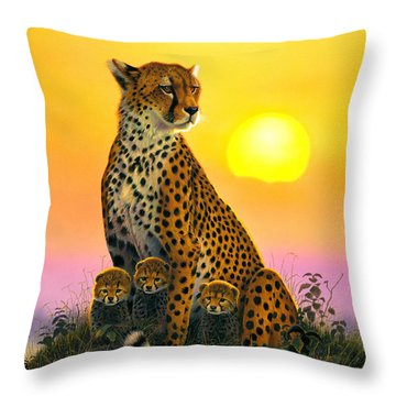 Cheetah And Cubs Throw Pillow by MGL Studio - Chris Hiett