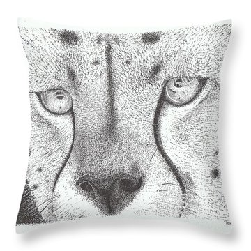 Cheetah Face Throw Pillow by Todd Hodgins