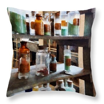 Chemistry - Bottles Of Chemicals Throw Pillow by Susan Savad