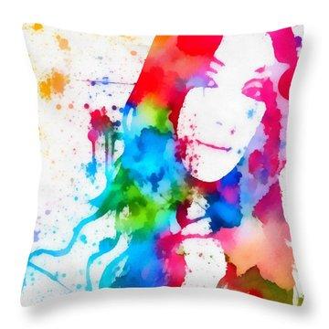 Cher Paint Splatter Portrait Throw Pillow by Dan Sproul