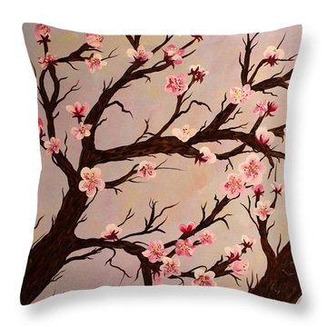 Cherry Blossom 1 Throw Pillow by Barbara Griffin