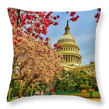 Cherry Blossoms At The Capitol Throw Pillow by Nick Zelinsky