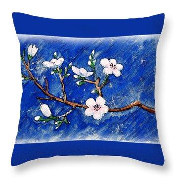 Cherry Blossoms Throw Pillow by Irina Sztukowski
