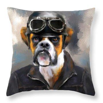 Chic Boxer Aviator Throw Pillow by Jai Johnson