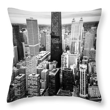 Chicago Aerial With Hancock Building In Black And White Throw Pillow by Paul Velgos
