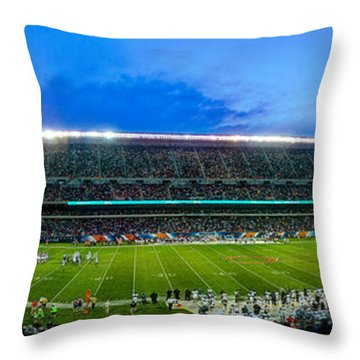 Chicago Bears At Soldier Field Throw Pillow by Steve Gadomski