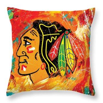 Chicago Blackhawks Logo Throw Pillow by Elliott From