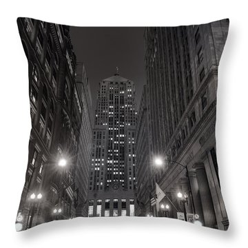 Chicago Board Of Trade B W Throw Pillow by Steve Gadomski