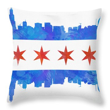 Chicago Flag Watercolor Throw Pillow by Mike Maher