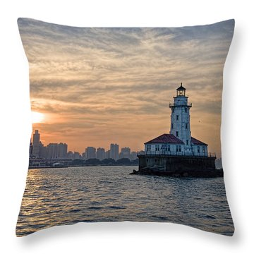 Chicago Lighthouse And Skyline Throw Pillow by John Hansen