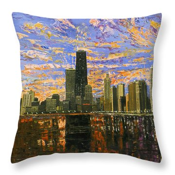 Chicago Throw Pillow by Mike Rabe