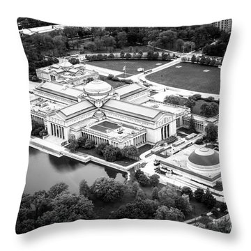 Chicago Museum Of Science And Industry Aerial View Throw Pillow by Paul Velgos