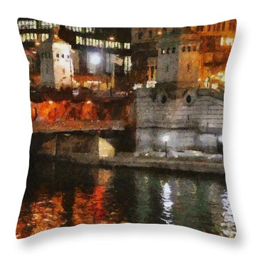 Chicago River At Michigan Avenue Throw Pillow by Jeff Kolker