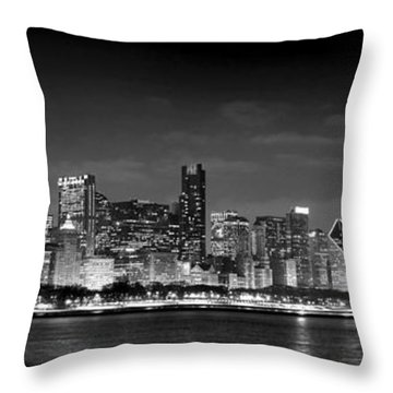 Chicago Skyline At Night Black And White Throw Pillow by Jon Holiday