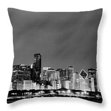 Chicago Skyline At Night In Black And White Throw Pillow by Sebastian Musial