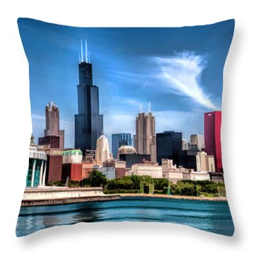 Chicago Skyline Panorama Throw Pillow by Christopher Arndt