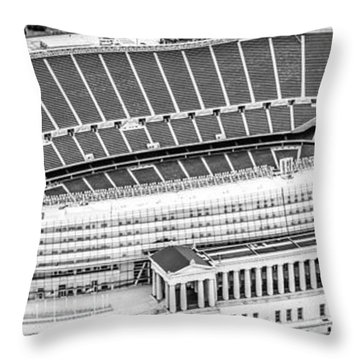 Chicago Soldier Field Aerial Panorama Photo Throw Pillow by Paul Velgos