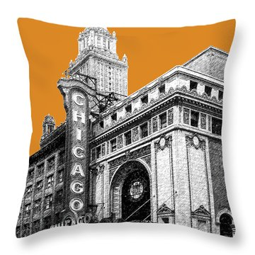 Chicago Theater - Dark Orange Throw Pillow by DB Artist