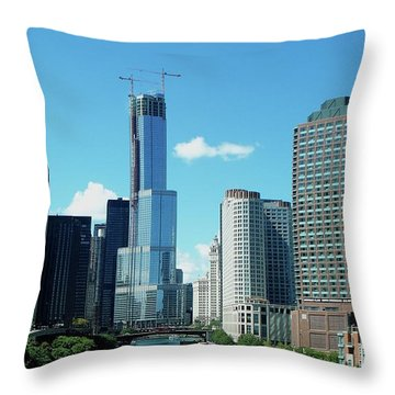 Chicago Trump Tower Under Construction Throw Pillow by Thomas Woolworth