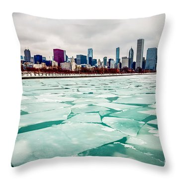 Chicago Winter Skyline Throw Pillow by Paul Velgos