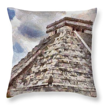Chichen Itza Throw Pillow by Jeff Kolker