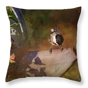 Chickadee Flower Pot Throw Pillow by Debbie Portwood