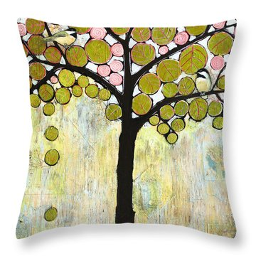 Chickadee Tree Throw Pillow by Blenda Studio