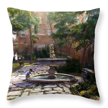 Child And Fountain Throw Pillow by Terry Reynoldson